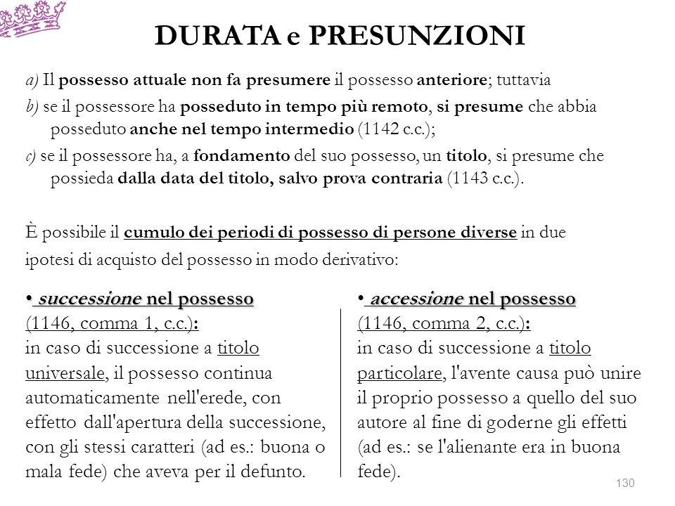 a) Il possesso attuale non fa presumere il possesso anteriore; tuttavia b) se il possessore ha posseduto in tempo più remoto, si presume che abbia pos