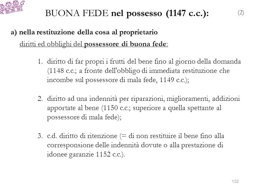 BUONA FEDE nel possesso (1147 c.c.): (2) a) nella restituzione della cosa al proprietario diritti ed obblighi del possessore di buona fede: 1.diritto