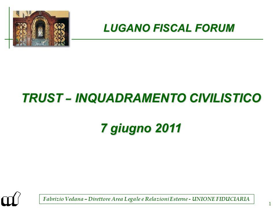 Fabrizio Vedana – Direttore Area Legale e Relazioni Esterne - UNIONE FIDUCIARIA 1 LUGANO FISCAL FORUM TRUST – INQUADRAMENTO CIVILISTICO 7 giugno 2011