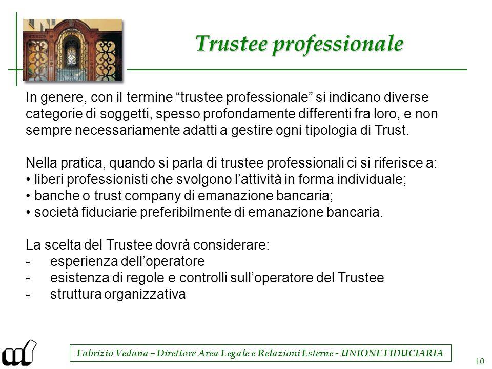 Fabrizio Vedana – Direttore Area Legale e Relazioni Esterne - UNIONE FIDUCIARIA 10 Trustee professionale In genere, con il termine trustee professiona