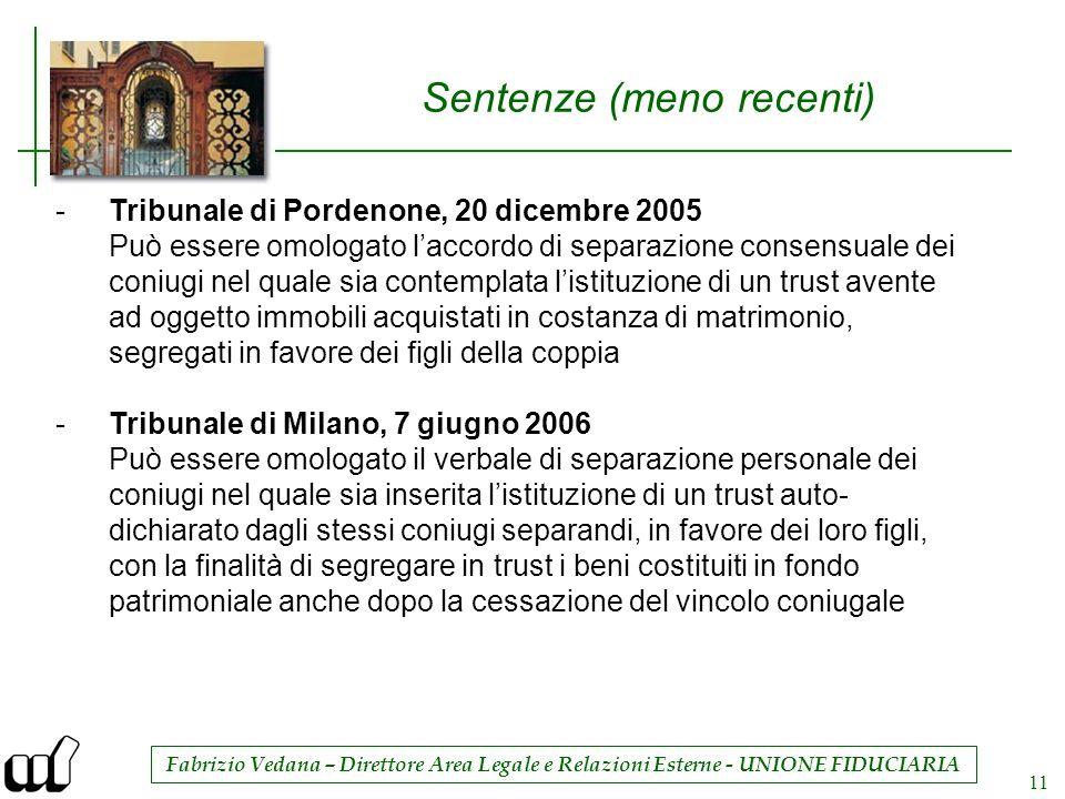 Fabrizio Vedana – Direttore Area Legale e Relazioni Esterne - UNIONE FIDUCIARIA 11 Sentenze (meno recenti) -Tribunale di Pordenone, 20 dicembre 2005 P
