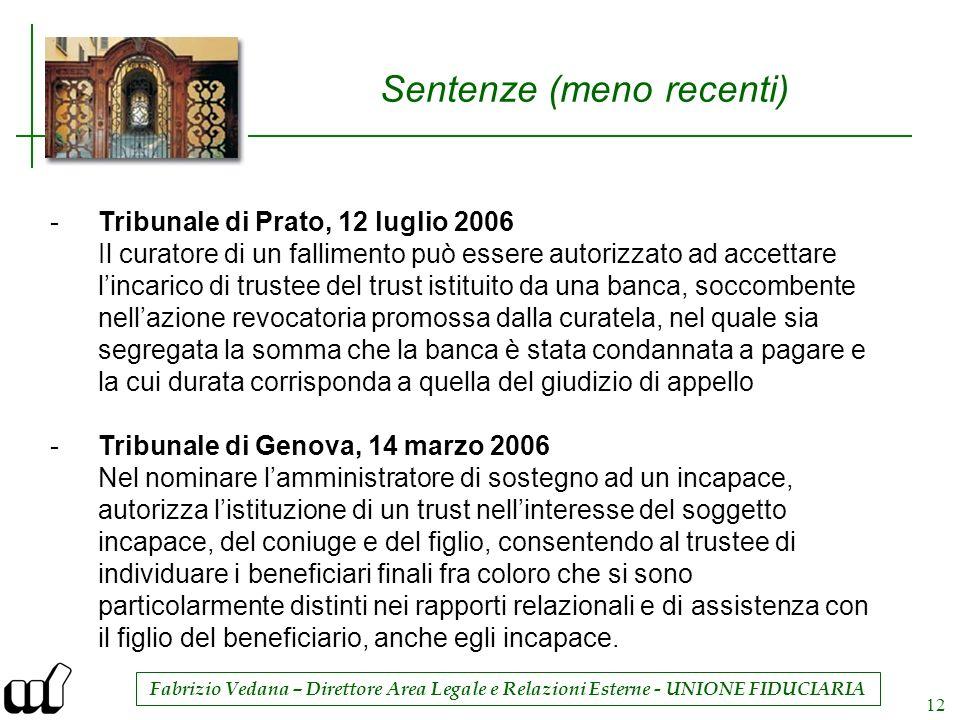 Fabrizio Vedana – Direttore Area Legale e Relazioni Esterne - UNIONE FIDUCIARIA 12 Sentenze (meno recenti) -Tribunale di Prato, 12 luglio 2006 Il cura