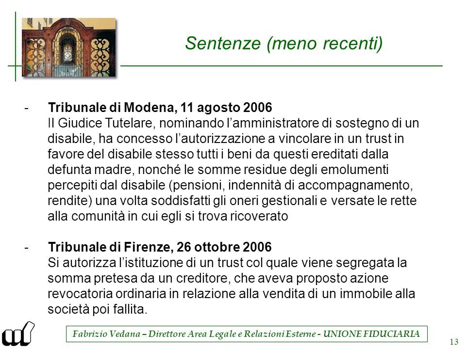 Fabrizio Vedana – Direttore Area Legale e Relazioni Esterne - UNIONE FIDUCIARIA 13 Sentenze (meno recenti) -Tribunale di Modena, 11 agosto 2006 Il Giu