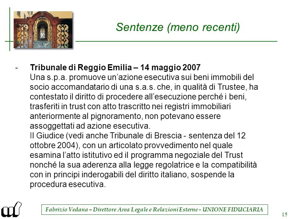 Fabrizio Vedana – Direttore Area Legale e Relazioni Esterne - UNIONE FIDUCIARIA 15 Sentenze (meno recenti) -Tribunale di Reggio Emilia – 14 maggio 200
