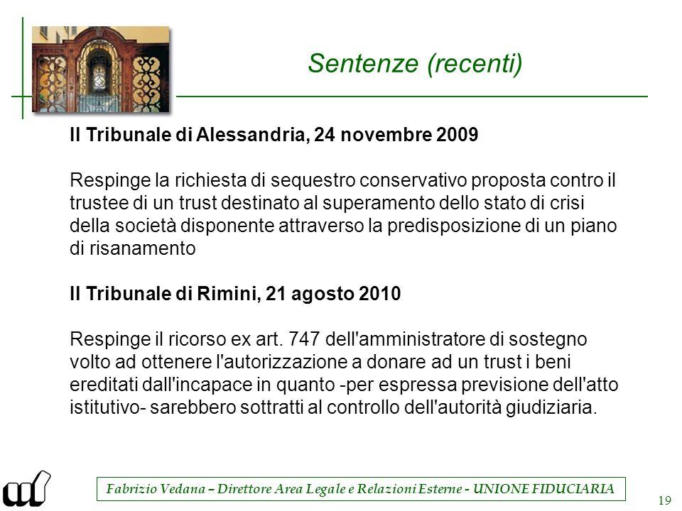 Fabrizio Vedana – Direttore Area Legale e Relazioni Esterne - UNIONE FIDUCIARIA 19 Sentenze (recenti) Il Tribunale di Alessandria, 24 novembre 2009 Re