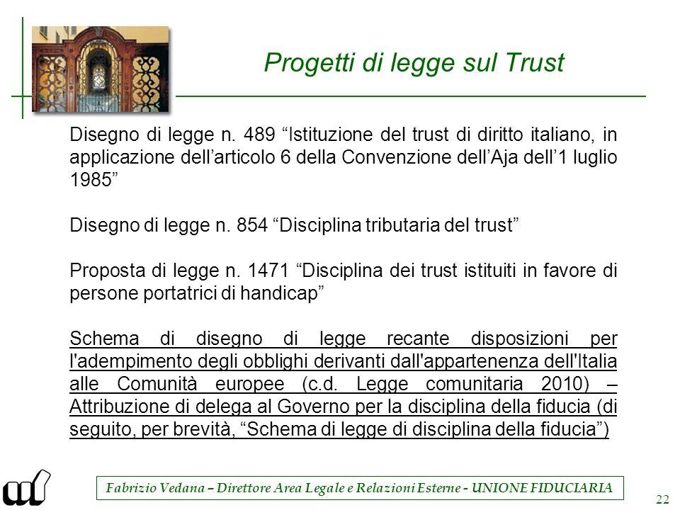 Fabrizio Vedana – Direttore Area Legale e Relazioni Esterne - UNIONE FIDUCIARIA 22 Progetti di legge sul Trust Disegno di legge n. 489 Istituzione del