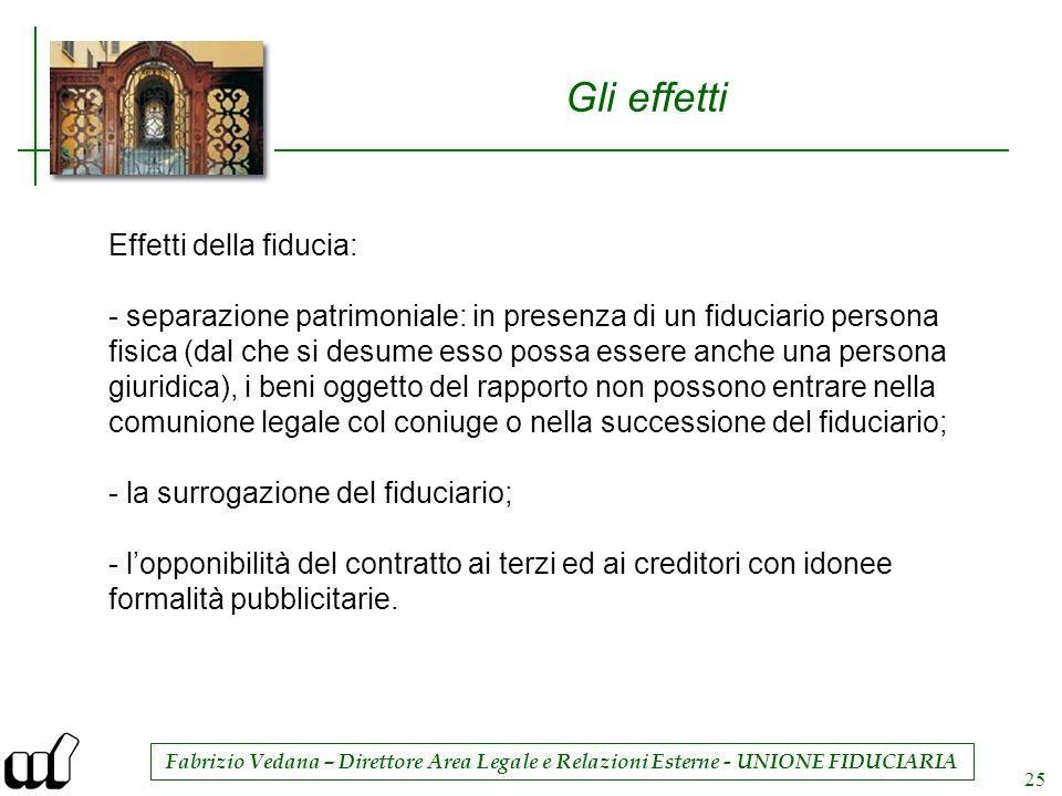 Fabrizio Vedana – Direttore Area Legale e Relazioni Esterne - UNIONE FIDUCIARIA 25 Gli effetti Effetti della fiducia: - separazione patrimoniale: in p
