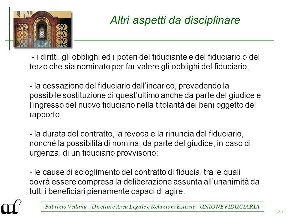 Fabrizio Vedana – Direttore Area Legale e Relazioni Esterne - UNIONE FIDUCIARIA 27 Altri aspetti da disciplinare - i diritti, gli obblighi ed i poteri