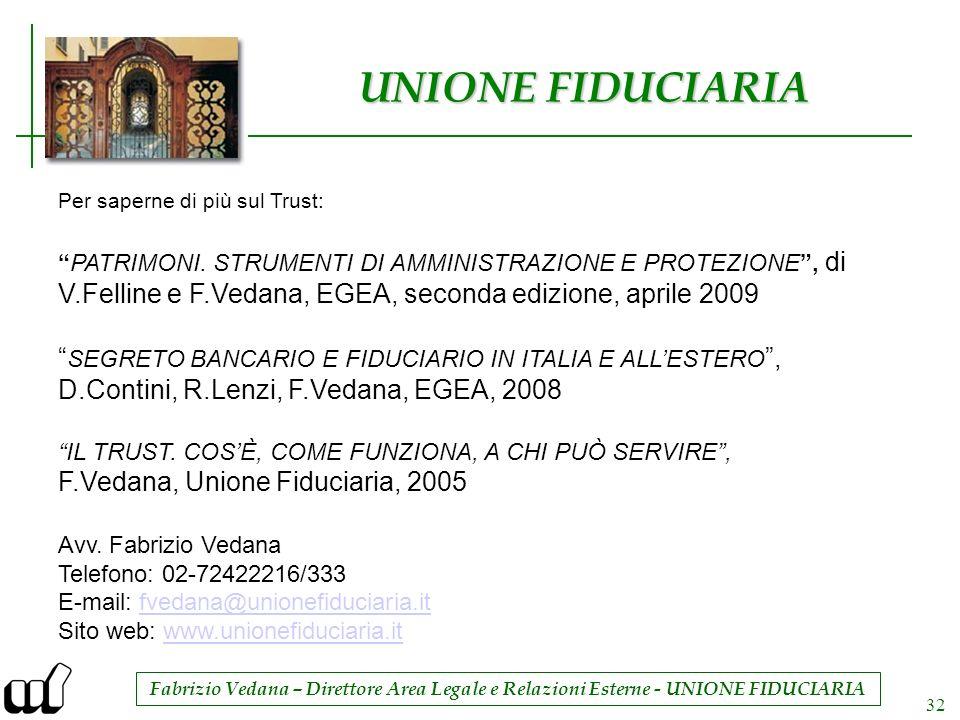 Fabrizio Vedana – Direttore Area Legale e Relazioni Esterne - UNIONE FIDUCIARIA 32 UNIONE FIDUCIARIA Per saperne di più sul Trust: PATRIMONI. STRUMENT
