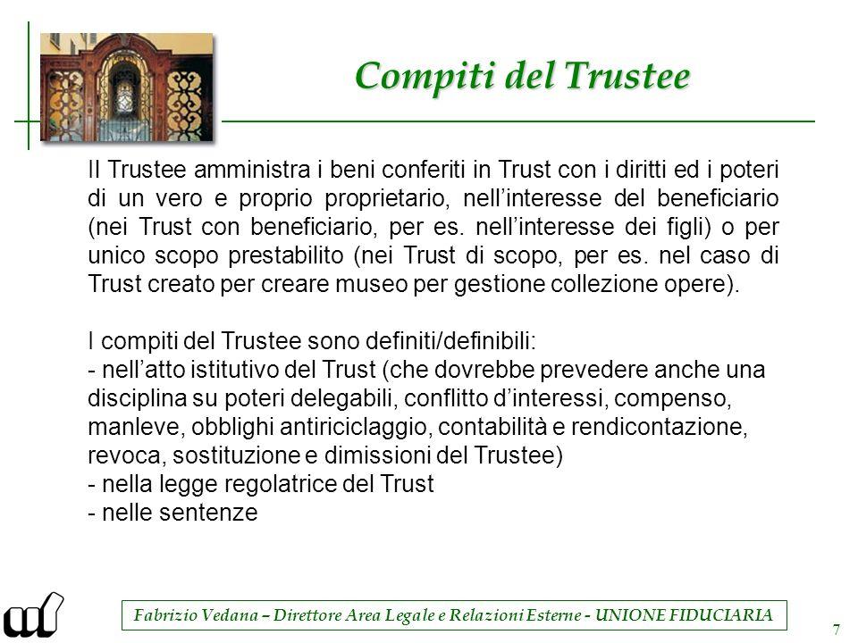 Fabrizio Vedana – Direttore Area Legale e Relazioni Esterne - UNIONE FIDUCIARIA 7 Compiti del Trustee Il Trustee amministra i beni conferiti in Trust