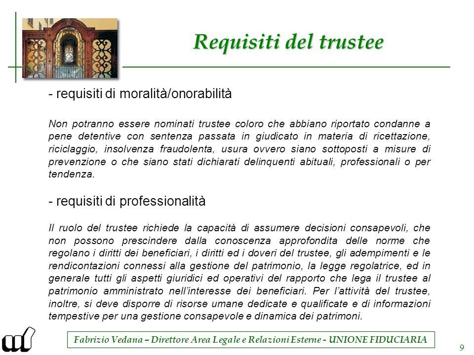 Fabrizio Vedana – Direttore Area Legale e Relazioni Esterne - UNIONE FIDUCIARIA 9 Requisiti del trustee - requisiti di moralità/onorabilità Non potran