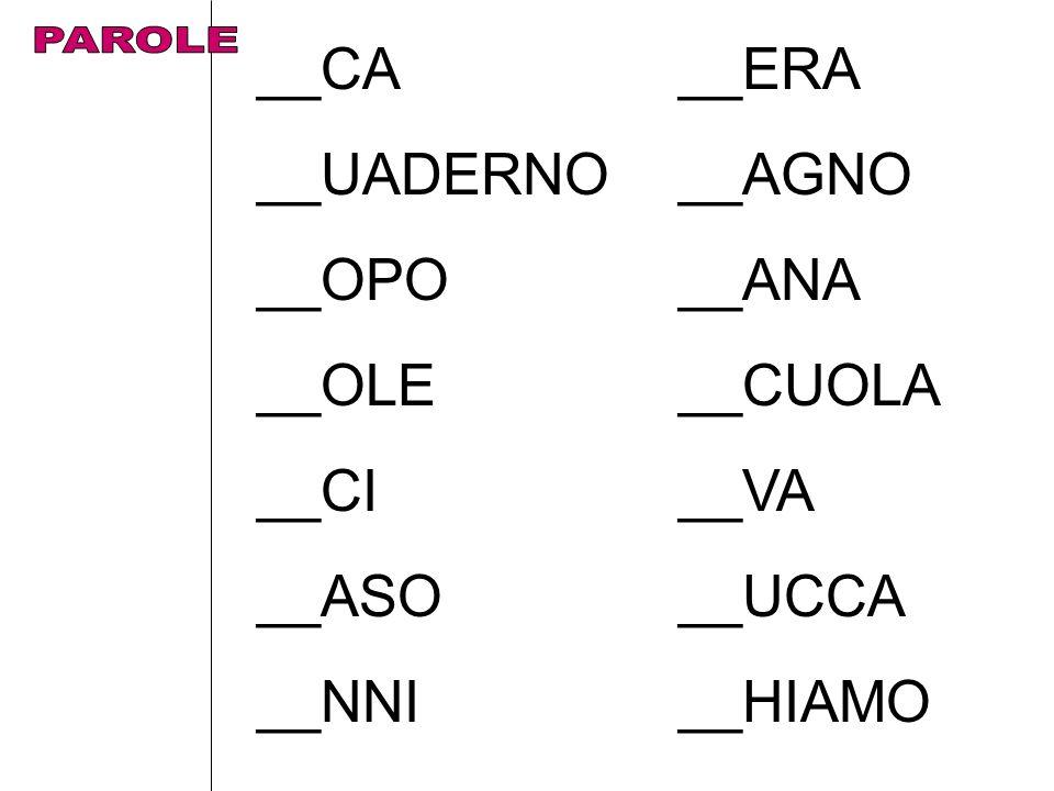 __CA__ERA __UADERNO__AGNO __OPO__ANA __OLE__CUOLA __CI__VA __ASO__UCCA __NNI__HIAMO