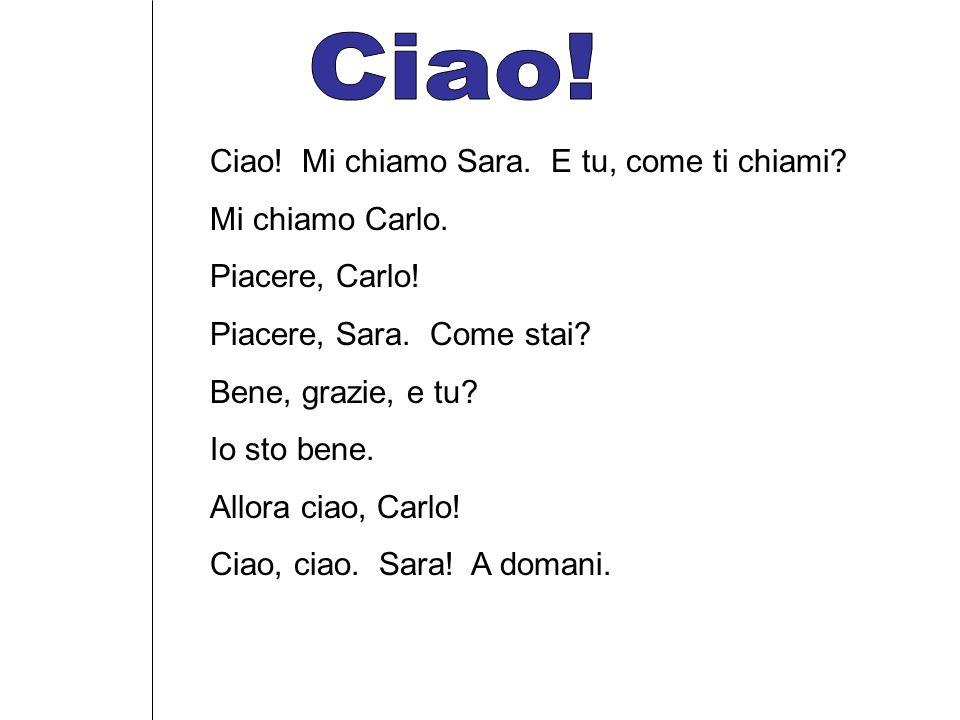 Ciao! Mi chiamo Sara. E tu, come ti chiami? Mi chiamo Carlo. Piacere, Carlo! Piacere, Sara. Come stai? Bene, grazie, e tu? Io sto bene. Allora ciao, C