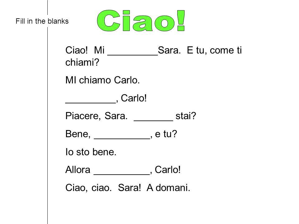 Ciao! Mi _________Sara. E tu, come ti chiami? MI chiamo Carlo. _________, Carlo! Piacere, Sara. _______ stai? Bene, __________, e tu? Io sto bene. All