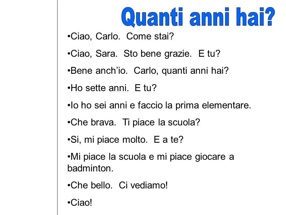 Ciao, Carlo.Come ________. Ciao, Sara. Sto _______ grazie.