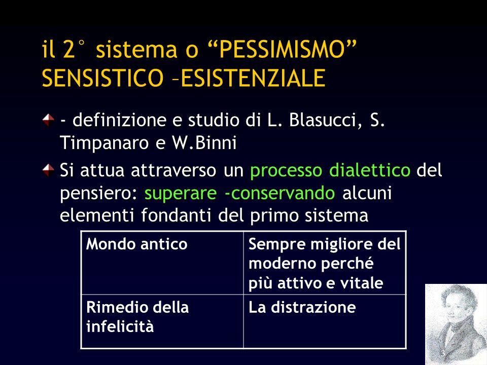 3 il 2° sistema o PESSIMISMO SENSISTICO –ESISTENZIALE - definizione e studio di L. Blasucci, S. Timpanaro e W.Binni Si attua attraverso un processo di