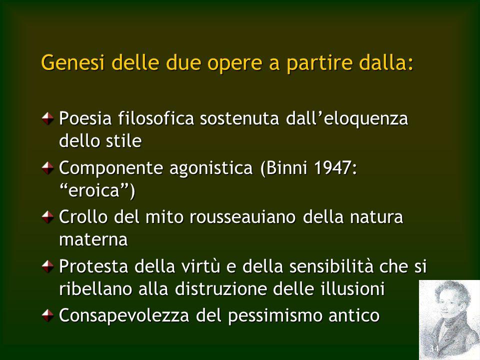 34 Genesi delle due opere a partire dalla: Poesia filosofica sostenuta dalleloquenza dello stile Componente agonistica (Binni 1947: eroica) Crollo del