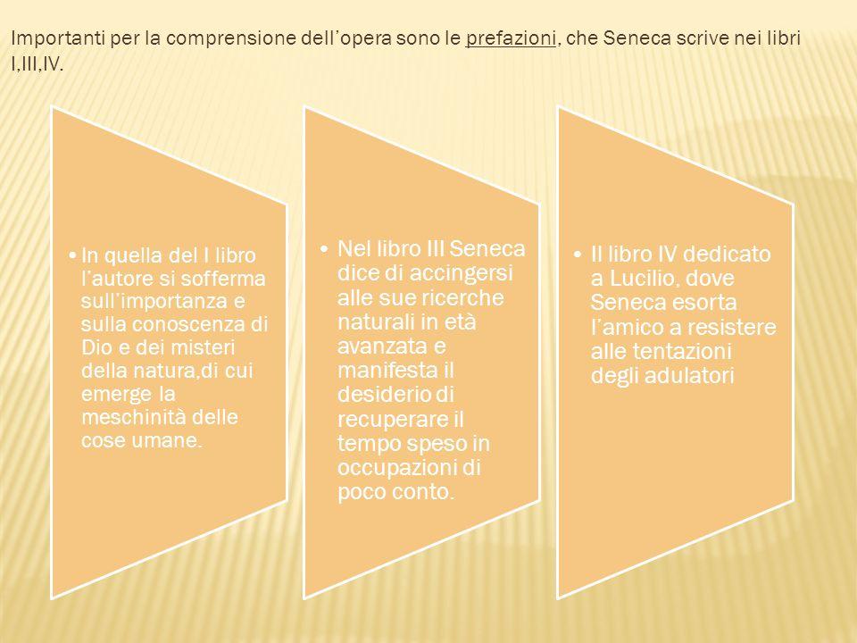Importanti per la comprensione dellopera sono le prefazioni, che Seneca scrive nei libri I,III,IV. In quella del I libro lautore si sofferma sullimpor