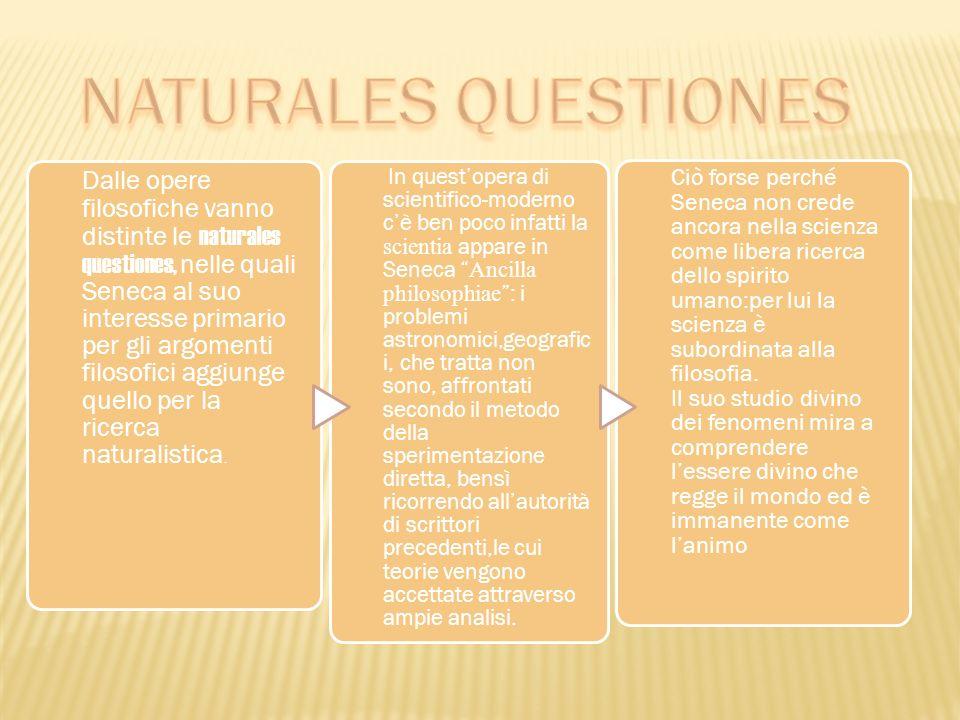 Dalle opere filosofiche vanno distinte le naturales questiones, nelle quali Seneca al suo interesse primario per gli argomenti filosofici aggiunge que