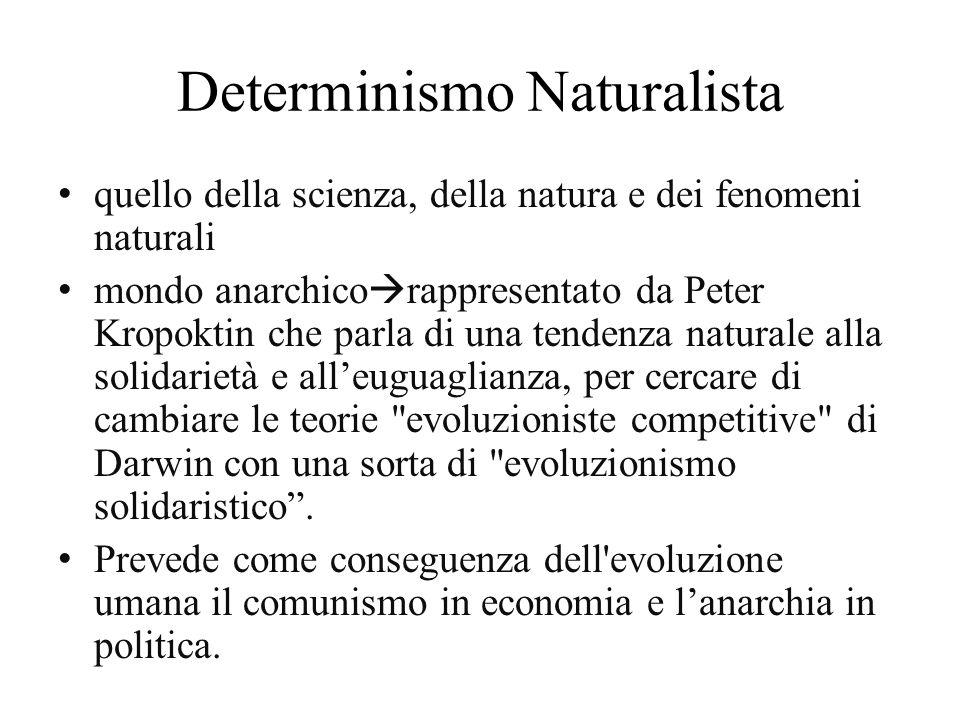 Determinismo Naturalista quello della scienza, della natura e dei fenomeni naturali mondo anarchico rappresentato da Peter Kropoktin che parla di una