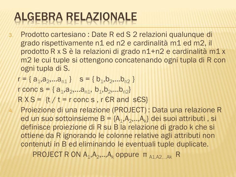 3. Prodotto cartesiano : Date R ed S 2 relazioni qualunque di grado rispettivamente n1 ed n2 e cardinalità m1 ed m2, il prodotto R x S è la relazioni