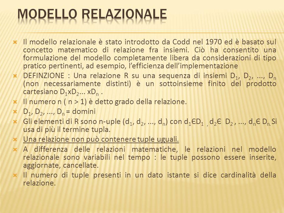 Il modello relazionale è stato introdotto da Codd nel 1970 ed è basato sul concetto matematico di relazione fra insiemi. Ciò ha consentito una formula