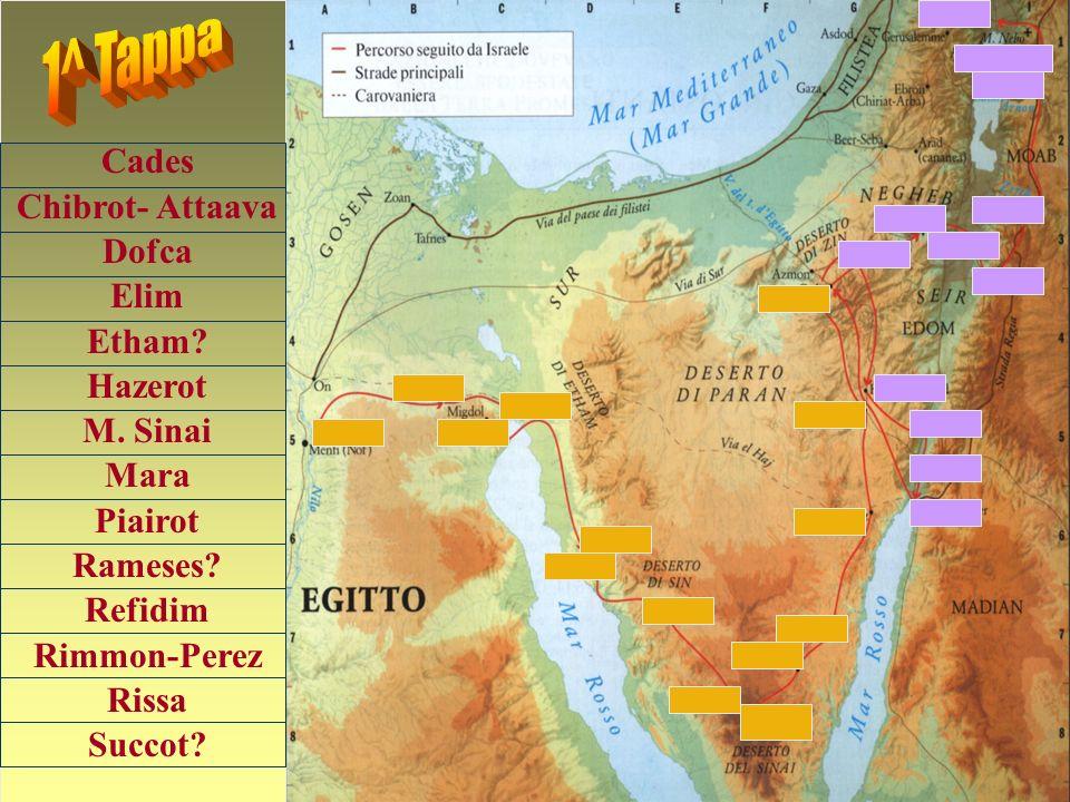 Avvalendoti della cartina ripercorri il viaggio dallEgitto alla terra promessa mettendo nel giusto ordine di percorrenza le varie località.