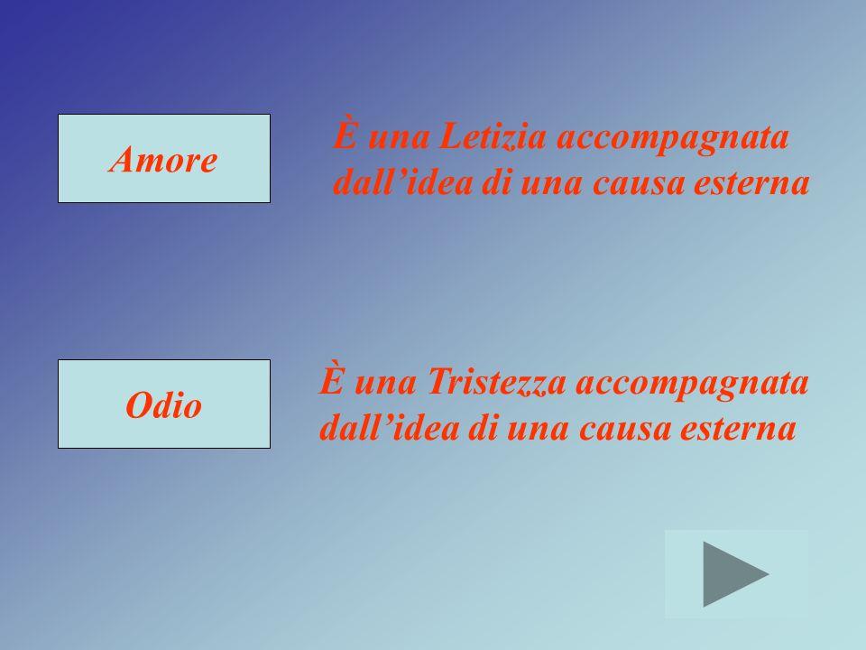 Amore Odio È una Letizia accompagnata dallidea di una causa esterna È una Tristezza accompagnata dallidea di una causa esterna