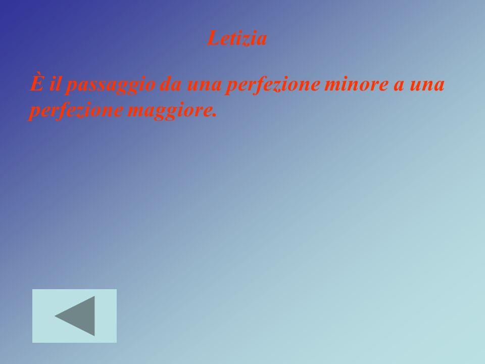 Letizia È il passaggio da una perfezione minore a una perfezione maggiore.