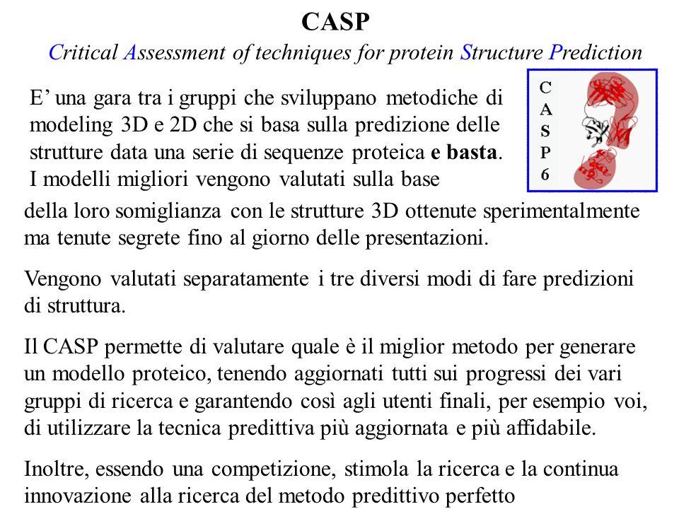 CASP E una gara tra i gruppi che sviluppano metodiche di modeling 3D e 2D che si basa sulla predizione delle strutture data una serie di sequenze prot