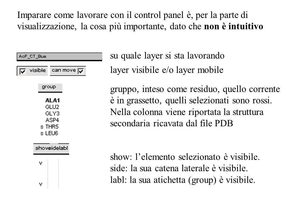 Imparare come lavorare con il control panel è, per la parte di visualizzazione, la cosa più importante, dato che non è intuitivo su quale layer si sta