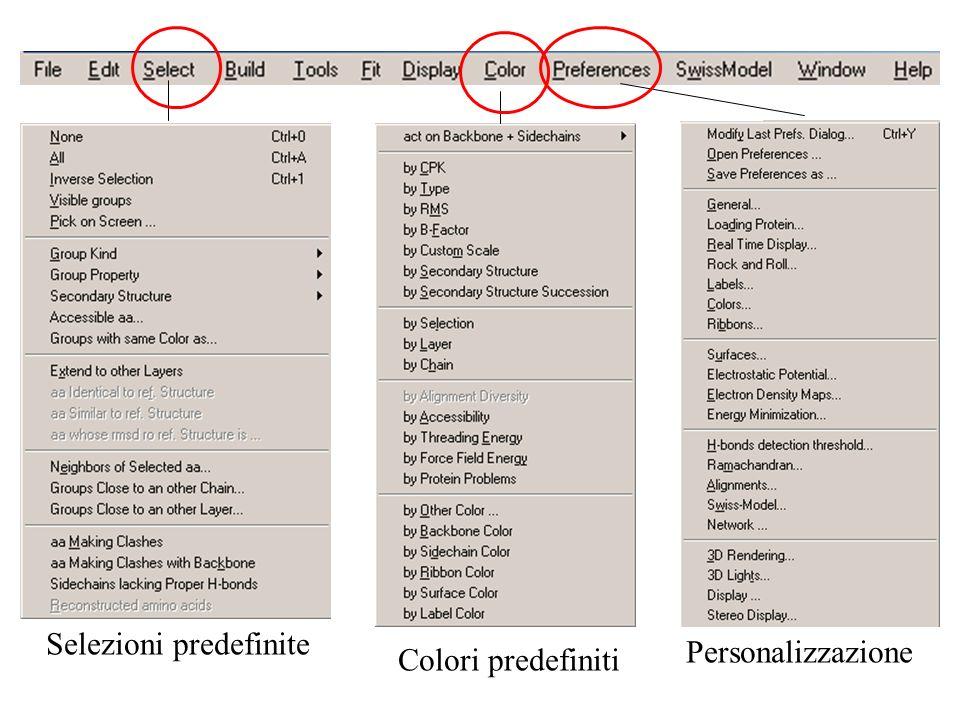 Selezioni predefinite Colori predefiniti Personalizzazione