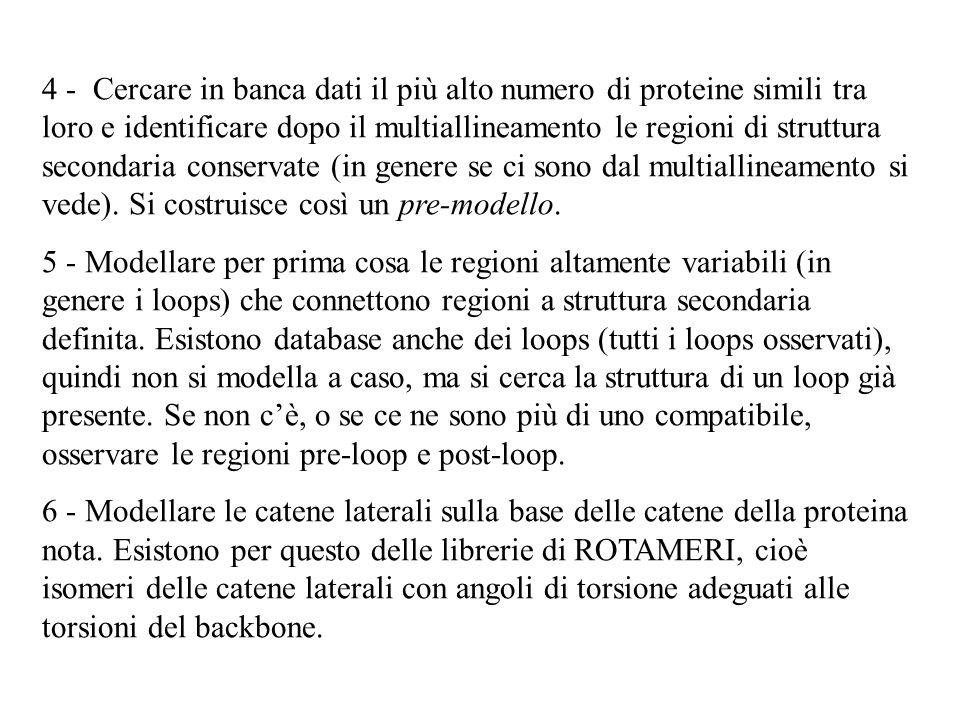 4 - Cercare in banca dati il più alto numero di proteine simili tra loro e identificare dopo il multiallineamento le regioni di struttura secondaria c