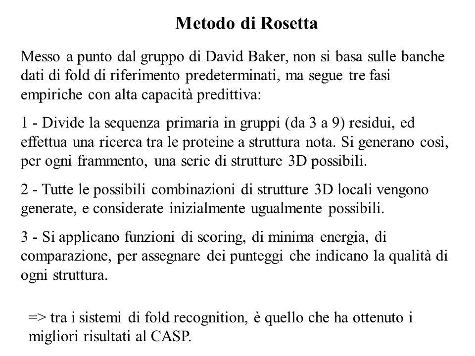 Metodo di Rosetta Messo a punto dal gruppo di David Baker, non si basa sulle banche dati di fold di riferimento predeterminati, ma segue tre fasi empi