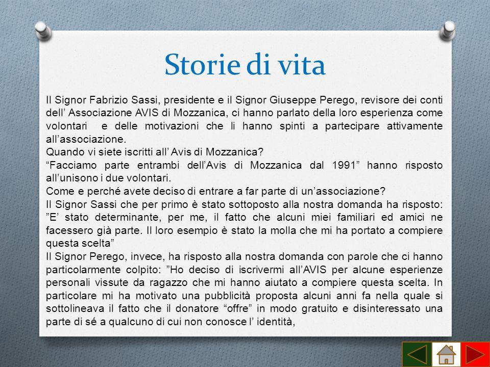 Storie di vita Il Signor Fabrizio Sassi, presidente e il Signor Giuseppe Perego, revisore dei conti dell Associazione AVIS di Mozzanica, ci hanno parl