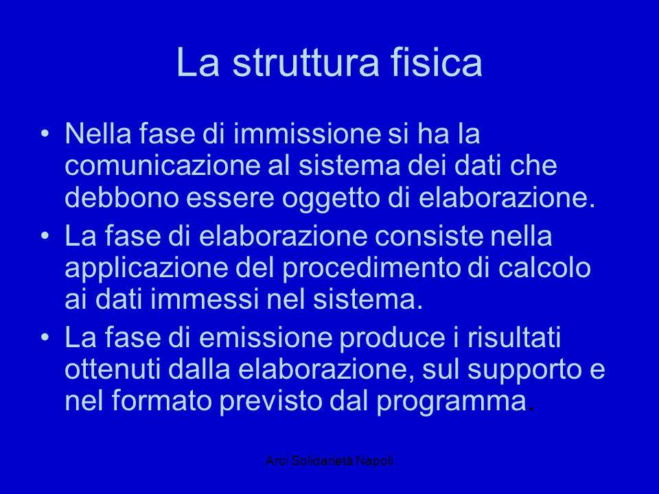 Arci Solidarietà Napoli La struttura fisica Nella fase di immissione si ha la comunicazione al sistema dei dati che debbono essere oggetto di elaborazione.
