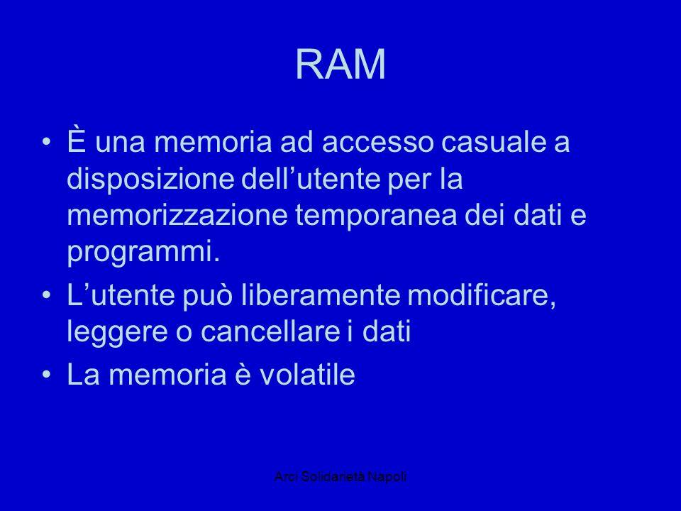 Arci Solidarietà Napoli ROM È una memoria di sola lettura, in cui sono memorizzate in modo permanente le istruzioni necessarie al momento dellavviamento del computer Non sono modificali se non dal costruttore Un esempio di memoria rom è il BIOS (basi input output system)