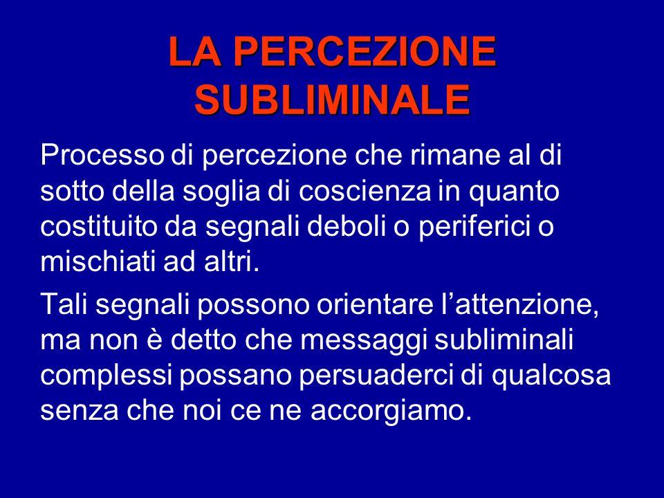 LA PERCEZIONE SUBLIMINALE Processo di percezione che rimane al di sotto della soglia di coscienza in quanto costituito da segnali deboli o periferici o mischiati ad altri.