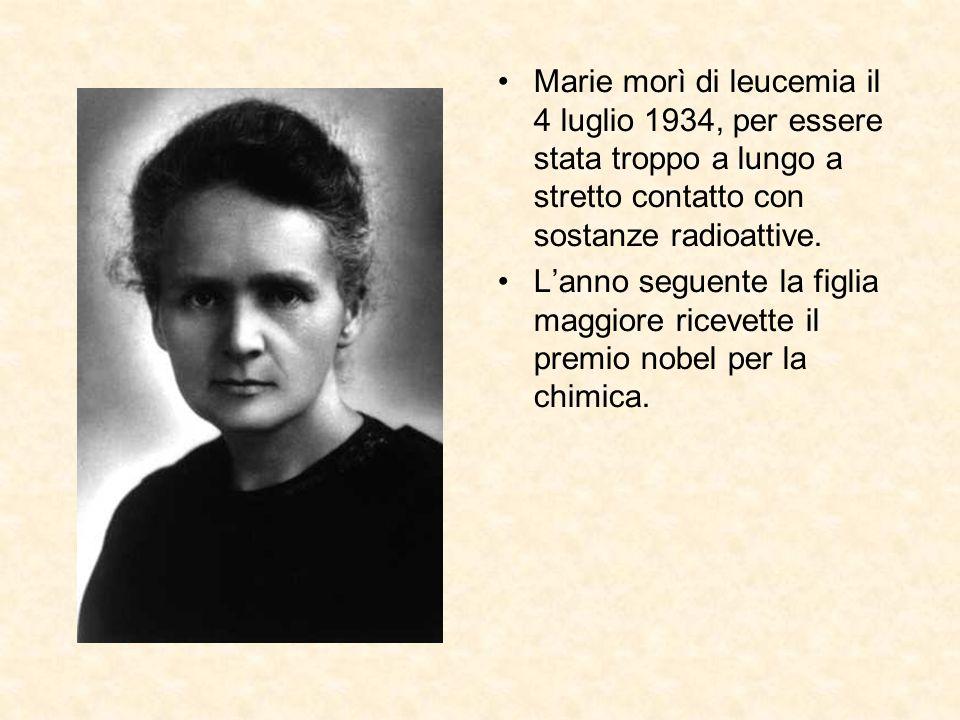 Marie morì di leucemia il 4 luglio 1934, per essere stata troppo a lungo a stretto contatto con sostanze radioattive. Lanno seguente la figlia maggior