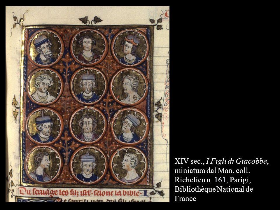 XIV sec., I Figli di Giacobbe, miniatura dal Man. coll. Richelieu n. 161, Parigi, Bibliothèque National de France