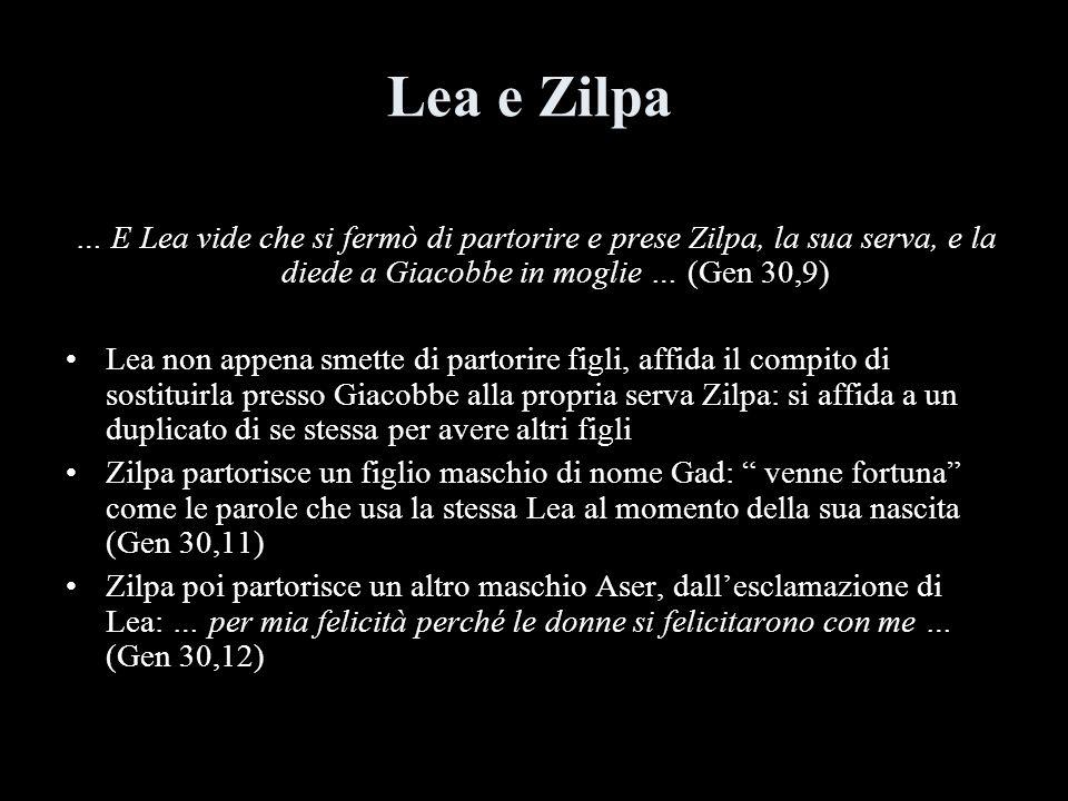 Lea e Zilpa … E Lea vide che si fermò di partorire e prese Zilpa, la sua serva, e la diede a Giacobbe in moglie … (Gen 30,9) Lea non appena smette di