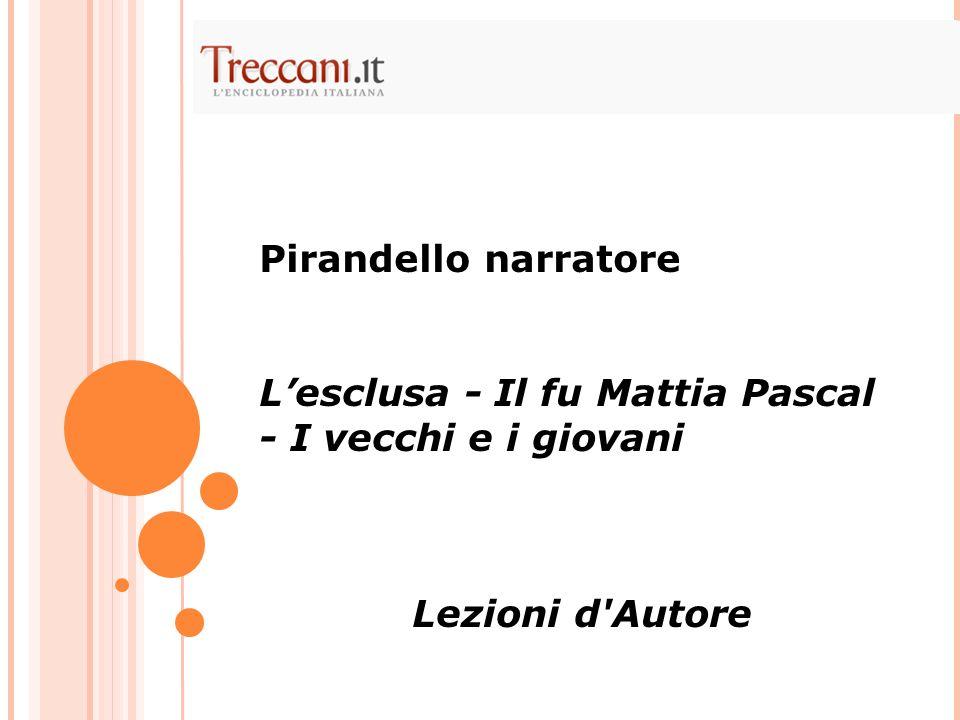 Pirandello narratore Lesclusa - Il fu Mattia Pascal - I vecchi e i giovani Lezioni d'Autore