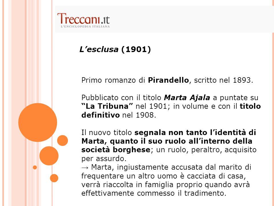 Primo romanzo di Pirandello, scritto nel 1893. Pubblicato con il titolo Marta Ajala a puntate su La Tribuna nel 1901; in volume e con il titolo defini