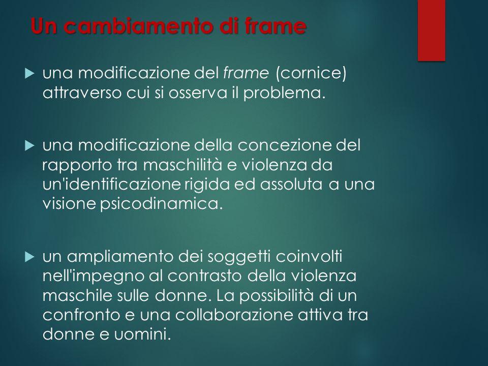 Un cambiamento di frame una modificazione del frame (cornice) attraverso cui si osserva il problema. una modificazione della concezione del rapporto t