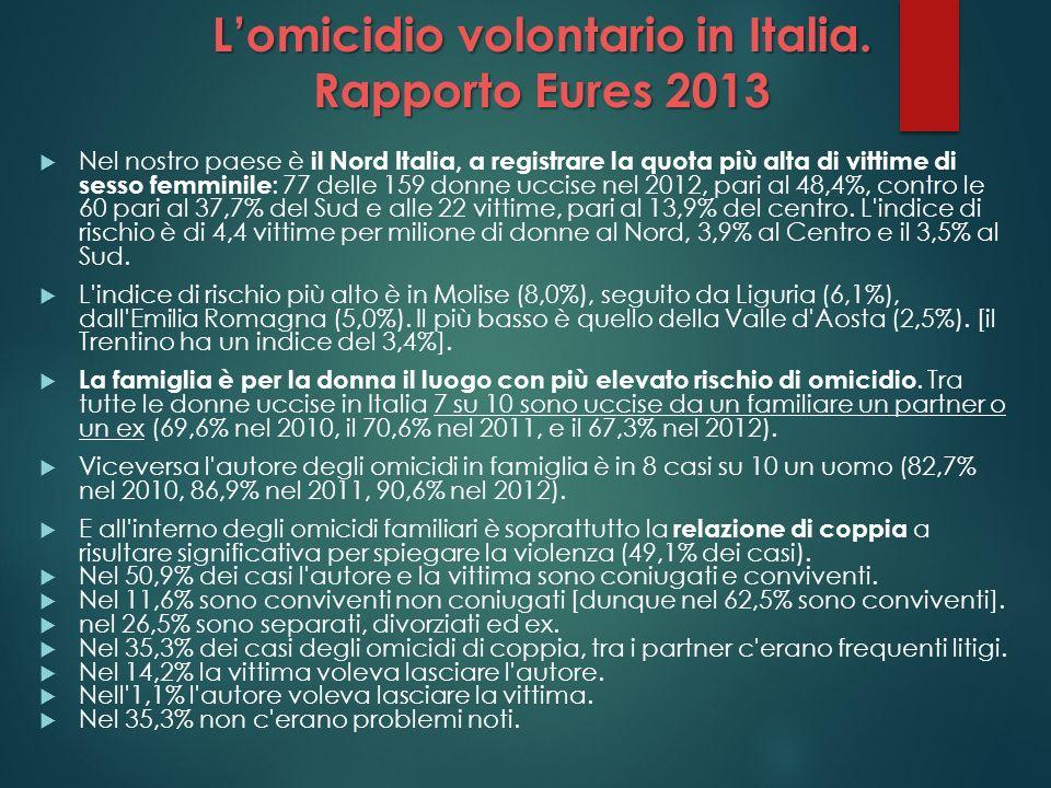 Lomicidio volontario in Italia. Rapporto Eures 2013 Nel nostro paese è il Nord Italia, a registrare la quota più alta di vittime di sesso femminile :