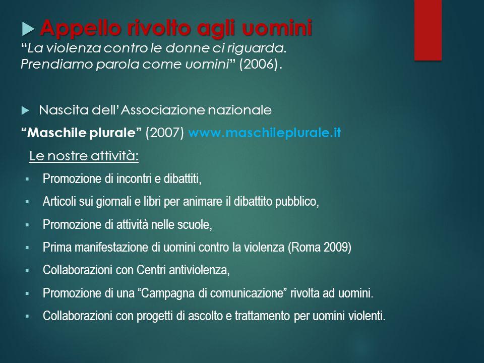 Appello rivolto agli uomini Appello rivolto agli uomini La violenza contro le donne ci riguarda. Prendiamo parola come uomini (2006). Nascita dellAsso