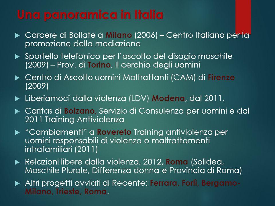 Una panoramica in Italia Carcere di Bollate a Milano (2006) – Centro Italiano per la promozione della mediazione Sportello telefonico per lascolto del