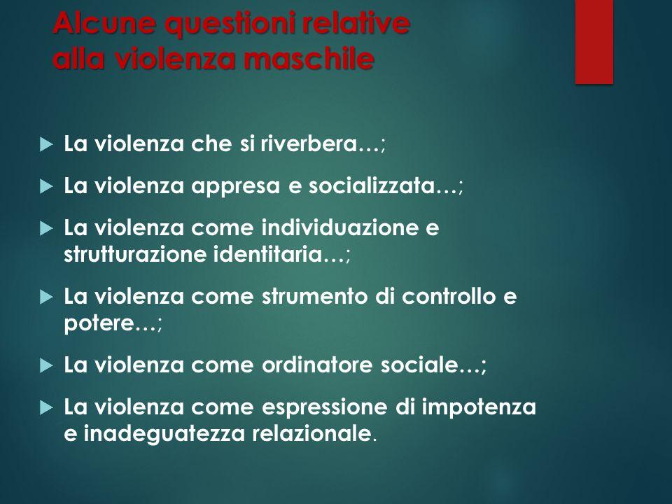 Alcune questioni relative alla violenza maschile La violenza che si riverbera… ; La violenza appresa e socializzata… ; La violenza come individuazione