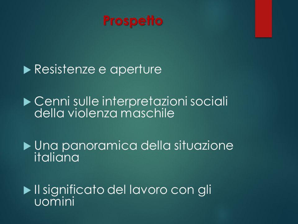 Prospetto Resistenze e aperture Cenni sulle interpretazioni sociali della violenza maschile Una panoramica della situazione italiana Il significato de