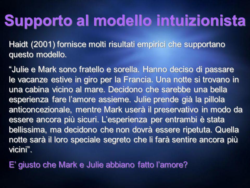 Supporto al modello intuizionista Haidt (2001) fornisce molti risultati empirici che supportano questo modello. Julie e Mark sono fratello e sorella.
